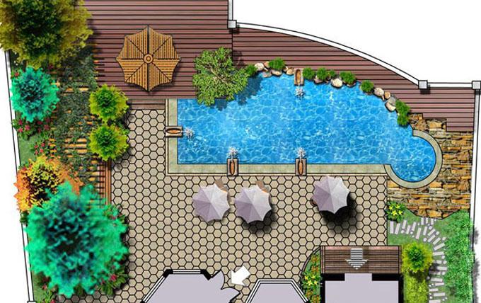 楼顶鱼池设计效果图